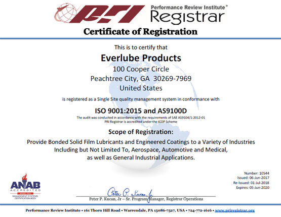Everlube Certification